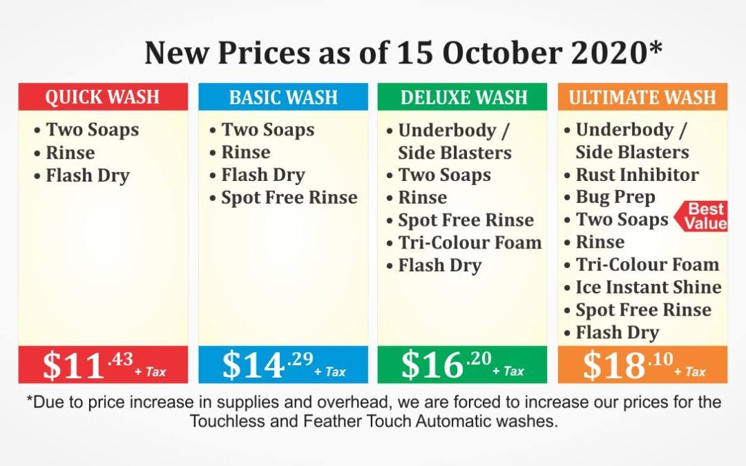 New Prices as of October 15, 2020*