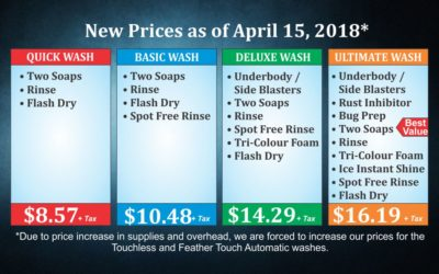 New Prices as of April 15, 2018*